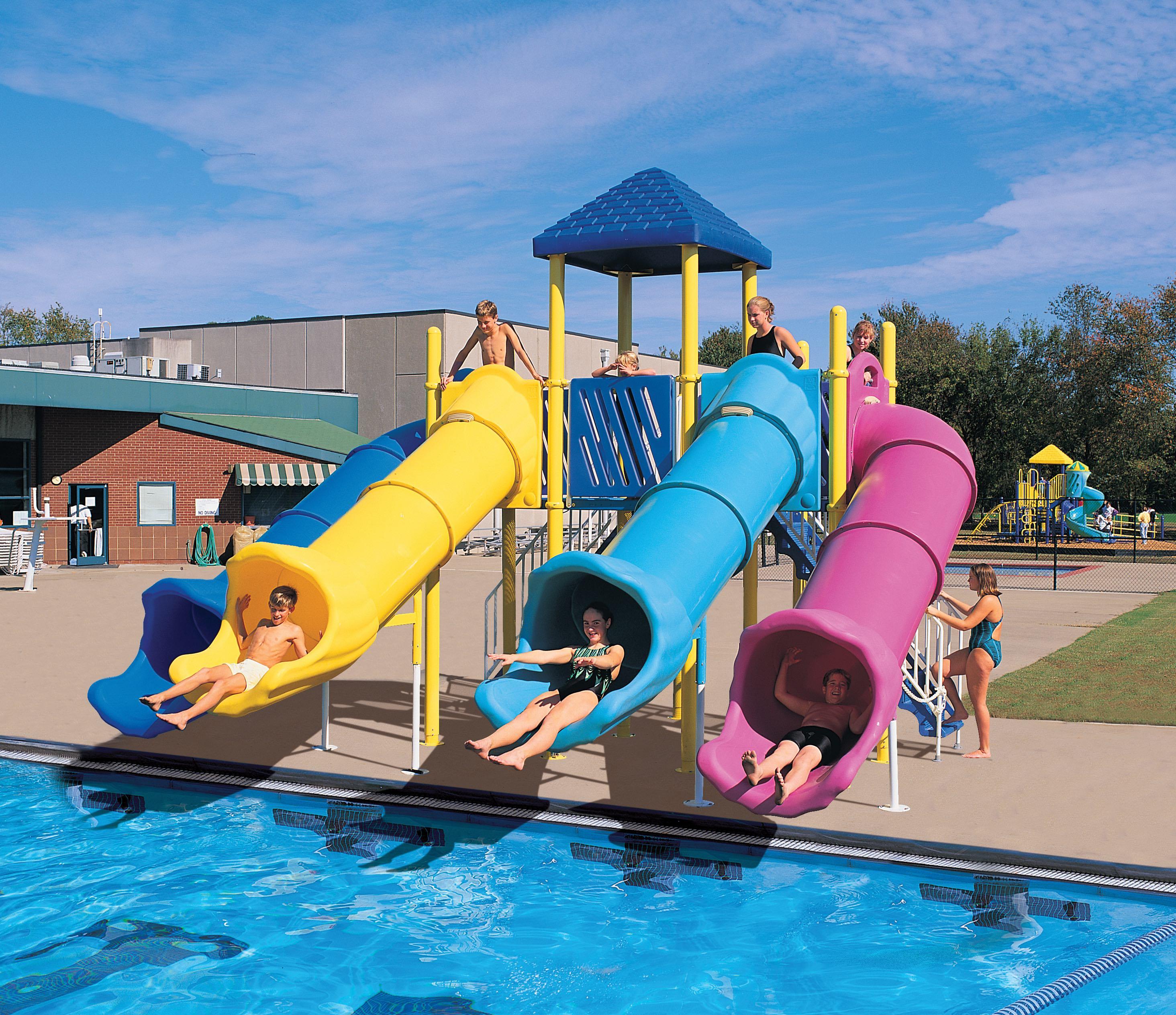 time for summer pool slides and shade. Black Bedroom Furniture Sets. Home Design Ideas